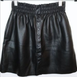 ZARA Faux Black Leather Button Front Skirt Size S